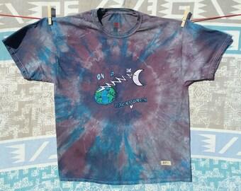 Grateful Dead Batik Tie Dye On A Backporch  5.2 cotton Haynes XL crew neck T shirt