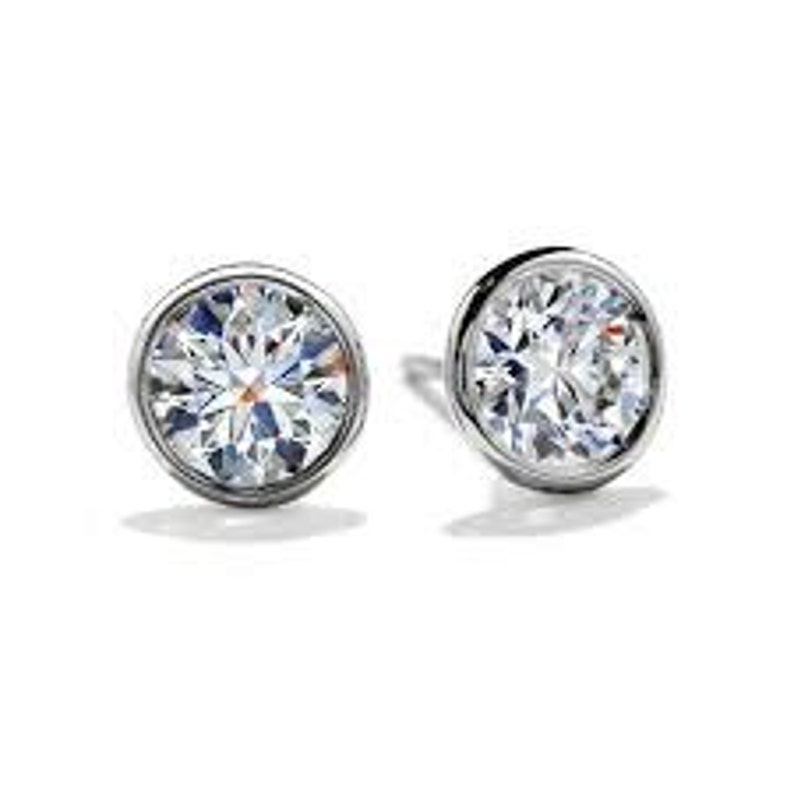 1d54f2dde4da2 Bezel CZ Stud Earrings in Sterling Silver- 2.00 each Earring