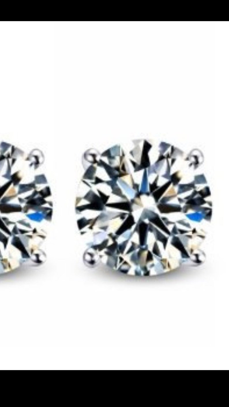 d0a509556b88d 2 pair of Diamond Lookalike CZ Stud Earrings 6 MM each .90 carats each