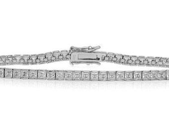Sterling Silver 3MM (.10 ct) White CZ Tennis Bracelet
