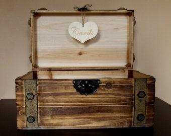 Large Rustic Wooden Card Trunk / Wedding Card Box / Wedding Card Holder / Rustic Wedding Trunk / Wedding Decor / Vintage Style Wedding Box