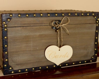 Large Studded Wooden Card Trunk / Rustic Card Box / Wedding Card Box / Wedding Decor / Wedding Card Holder / Wedding Trunk / Studded Box