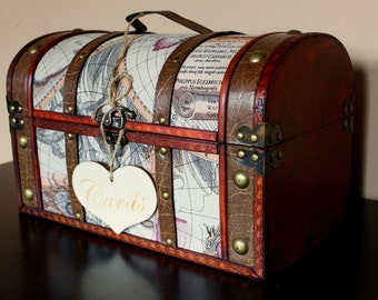 Wedding Card Trunk / Map Trunk / Wedding Card Holder / Travel Themed Wedding / Wooden Trunk / Wedding Card Box / Large Wedding Card Box
