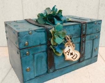 Turquoise Wedding Trunk / Wedding Card Box / Decorative Card Trunk / Wedding Decor / Antique Style Wedding / Rustic Wedding / Wedding Cards
