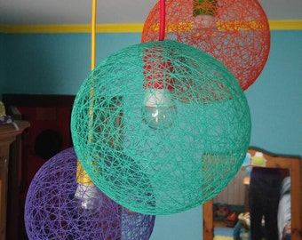 April, Triple Modern Sphere Pendant Lamp made of thread