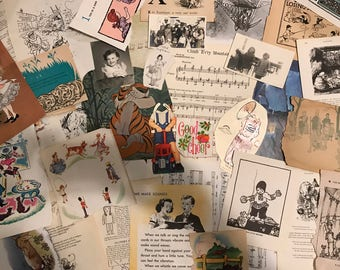 Ephemera Children's Themed grab bag, 30+ vintage paper pieces, 1800s-1900s, photos, book pages, paper dolls, sheet music, illustrations+