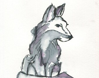 Wolf In Ink- Mixed Media Large Giclee Art Print by Amber Button