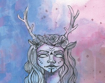 Elvish Princess- Watercolor Giclee Art Print by Amber Button