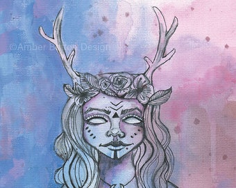 Elvish Princess- Watercolor Large Giclee Art Print by Amber Button