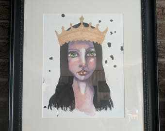 Queen Mary- An Original Mixed Media Painting on paper by Amber Button