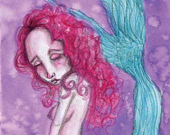 Mermaid In Mourning- Mixed Media Large Giclee Art Print by Amber Button