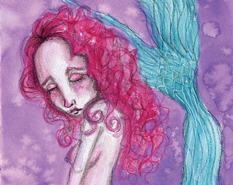 Mermaid In Mourning- Mixed Media Giclee Art Print by Amber Button