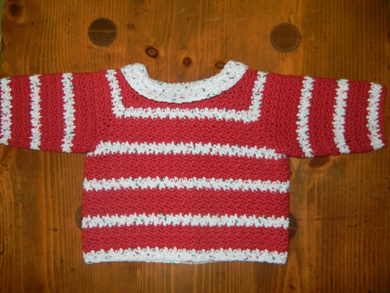Baby Christmas Cotton Sweater Red and White Baby Sweater Baby Christmas Sweater Newborn to 3 Month Sweater Crocheted Cotton Baby Sweater