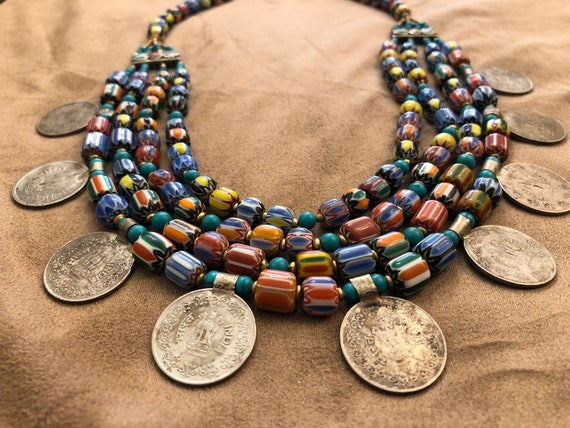 Extravagant Venetian Glass and Coin Necklace