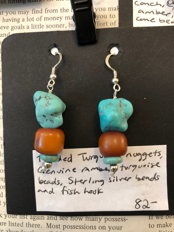 Turquoise Nugget and Amber, Tibetan-inspired Earrings