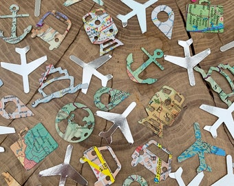 150 travel Confetti Pieces, road maps, atlas shapes, silver aeroplanes. Weddings, leaving party, travel