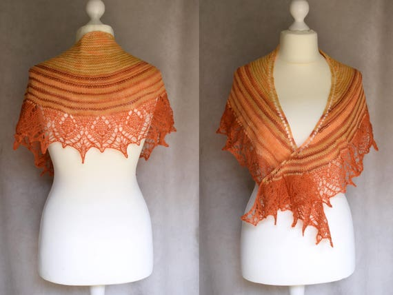 Châle orange et marron, petit châle laine et mohair, femmes foulard, écharpe  géométrique, dentelle shouldercover, forme de ... 6f3984b4da7