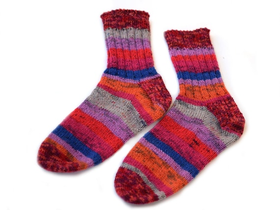 "NEW LUXURY UNISEX Striped Socks from /""Two Socks/""  Medium and Large sizes"
