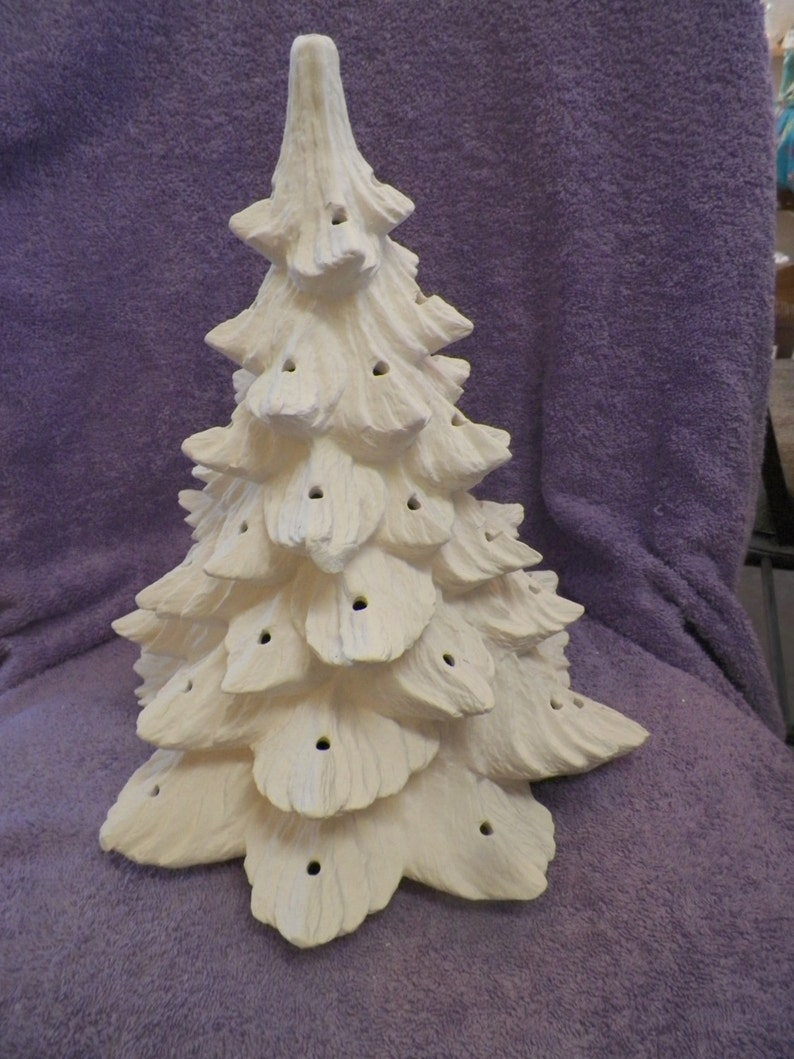 Nowell 342 Ceramic Christmas Tree With Base Bisque Ready To Paint