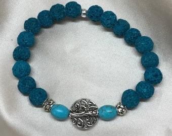 Turquoise Dyed Howlite Gemstone and Lava Bead Aromatherapy Bracelet/ Lava Stone Bracelet/ Healing Bracelet/ Essential Oil Bracelet- Handmade