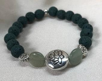 Green Aventurine Gemstone and Lava Bead Aromatherapy Bracelet/ Lava Stone Bracelet/ Healing Bracelet/ Essential Oil Bracelet - Handmade