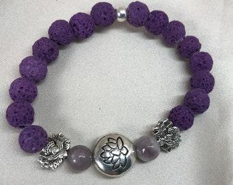 Lepidolite with Pink Tourmaline Gemstone and Lava Bead Aromatherapy Bracelet/ Healing Bracelet/ Essential Oil Bracelet - Handmade
