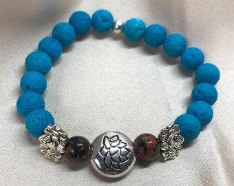 Mexican Red Jasper Gemstone and Lava Bead Aromatherapy Bracelet/ Lava Stone Bracelet/ Healing Bracelet/ Essential Oil Bracelet - Handmade