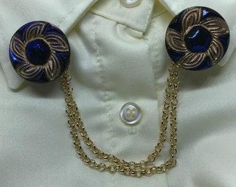 Czech Glass Spinning Wheel Design Button and 14 Kt Gold Plated Double Strand Sweater Clip/ Dress Clip/ Collar Clip/ Cardigan Clip - Handmade