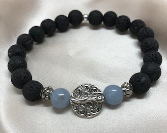 Angelite/ Anhydrite Gemstone and Lava Bead Aromatherapy Bracelet/ Lava Stone Bracelet/ Healing Bracelet/ Essential Oil Bracelet - Handmade