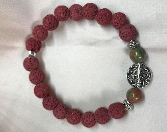 Unakite Gemstone and Lava Bead Aromatherapy Bracelet/ Lava Stone Bracelet/ Healing Bracelet/ Essential Oil Bracelet - Handmade