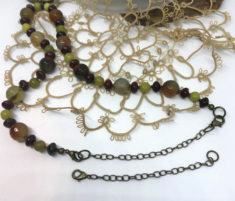 New Jade Serpentine Olive Jade and Glass Necklace and Earrings Handmade Brecciated Red Jasper Gemstone Necklace Set