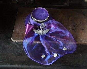 Purple Felted Wool Top Hat With Purple And Blue Felt Roses
