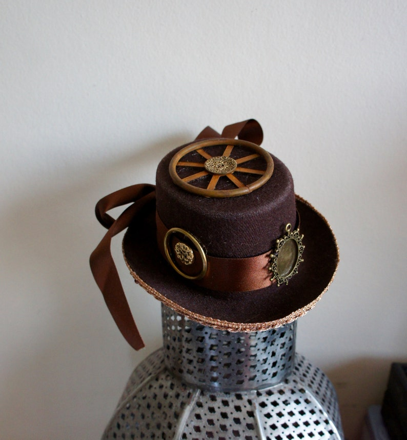 d3e67809ac2f3 One Of A Kind Steampunk Cogs And Wheels Mini Top Hat