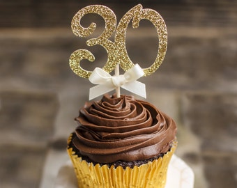 30th birthday cupcake toppers, thirty cupcake toppers-12 CT