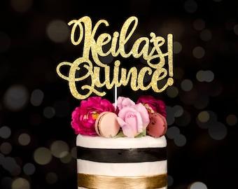 Custom cake topper, gold cake topper, quince, quincenera cake topper