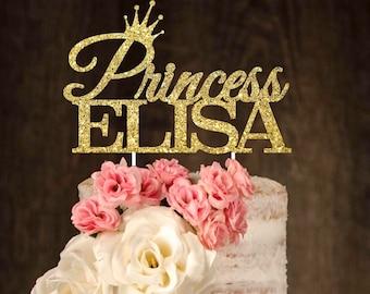 Custom cake topper, princess cake topper, glitter cake topper