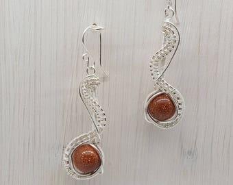 Goldstone Silver Earrings, Goldstone Earrings, Wire Wrapped Earrings, Wire Woven Earrings, Goldstone Jewellery, Silver Earrings, Handmade