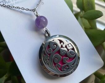 Reiki Attuned Gemstone Pendant Essential Oil Diffuser Necklace Stainless Steel Locket Style Necklace DIFFUSER Pendant