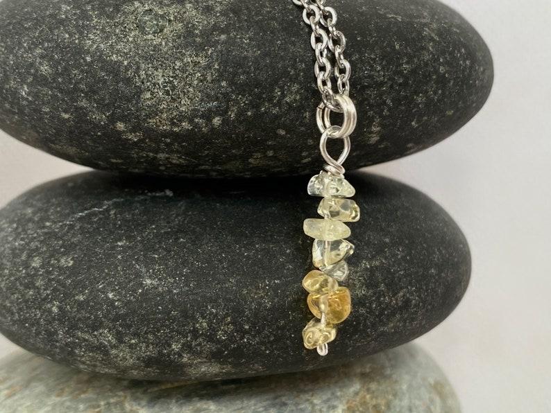 Chakra Healing CITRINE Cairn Necklace Reiki Attuned Crystal Pendant Zen Jewelry