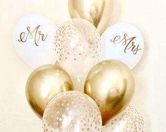 new chrome gold mr mrs and confetti balloonswedding balloonbridal shower balloonsconfetti look balloonchrome gold balloonmr mrs decor