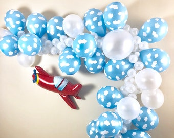 Cloud Balloon Garland DIY Kit ~Time Flies Party Decor~Airplane Party~First Birthday~Adventure Party~Airplane Baby Shower~Up Up and Away