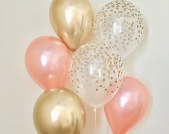Rose Gold Chrome Gold & Clear Gold Confetti Latex Balloon~Birthday~Wedding~Bridal Shower~Rose Gold Balloon~Gold Confetti Look Balloon~Chrome