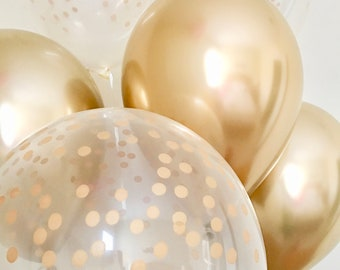 NEW Gold Chrome and Gold Confetti Look Latex Balloon~Gold First Birthday~Baby Shower~Bridal Shower~Wedding~Gold Decor~Gold Confetti Balloon