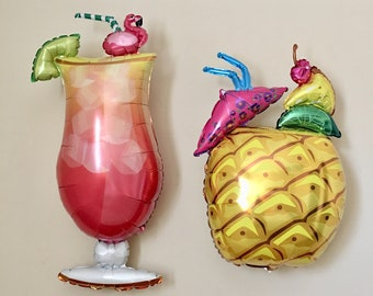 Tropical Drink Balloon~Pineapple Balloon~Palm Springs~Bachelorette Party~Flamingo~Luau Decor~Summer Party Drinks~Beach Party~Tropical Drink