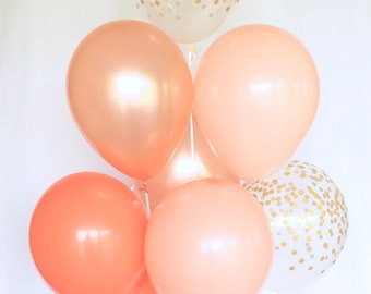 Rose Gold Coral Blush & Clear Gold Confetti Latex Balloons~First Birthday~Wedding~Bridal Shower~Rose Gold Balloon~Gold Confetti Look Balloon