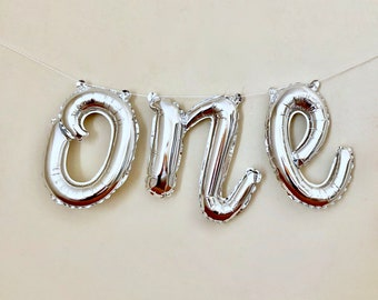 One Script Silver Letter BalloonFirst Birthday Balloon1st Balloon BannerOne Party DecorationsOne