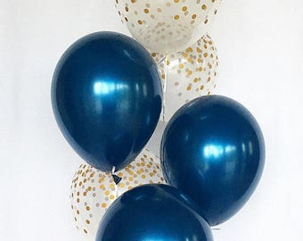gold and navy blue party decorations