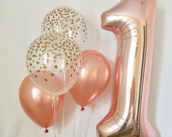 Rose Gold And Clear Confetti Latex Balloons With Jumbo One 1 First Birthday GoldFirst Pink