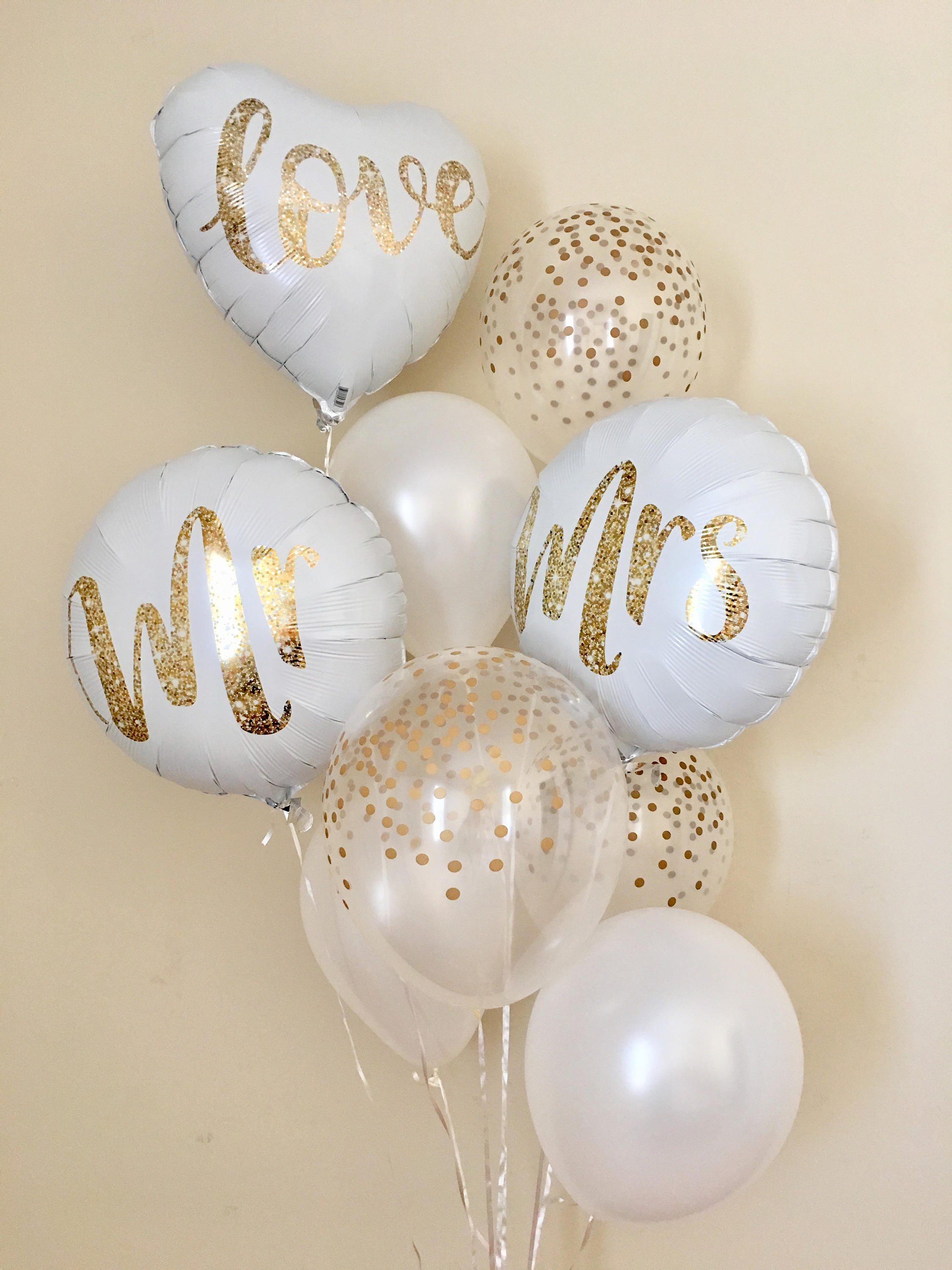 Mr and Mrs Balloons~Gold Confetti Look Balloons~Wedding Balloons ...