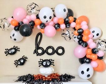 Pink & Orange Halloween Balloon Garland DIY Kit~Halloween Party Decorations~Halloween Banner~Boo Balloon~Halloween Balloon Arch~Bat Balloon